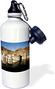 """3dRose wb_92240_1""""Low water levels at the Hoover Dam, Lake Mead, NV US29 MPR0048 Maresa Pryor"""" Sports Water Bottle, 21 oz, White"""