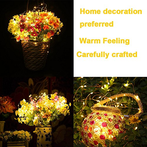 Ouniman 6 Pcs Starry String Lights, LEDs Fairy Lights Silver Coated Copper Wire, Battery Powered for Christmas Tree DIY Wedding Bedroom Easter Decor - Yellow by Ouniman (Image #2)
