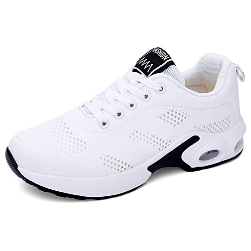 7055418a94e Basket Sneakers Femme pour Running Chaussures de Course Lacets Air Coussin  4cm Blanc 35