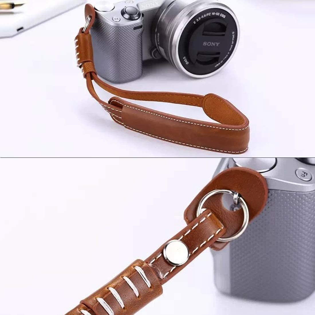 Black Color : Brown Camera Strap Caofeng Camera Wrist Strap Safety Wrist Strap Grip PU Leather Hand Strap for SLR//DSLR Cameras