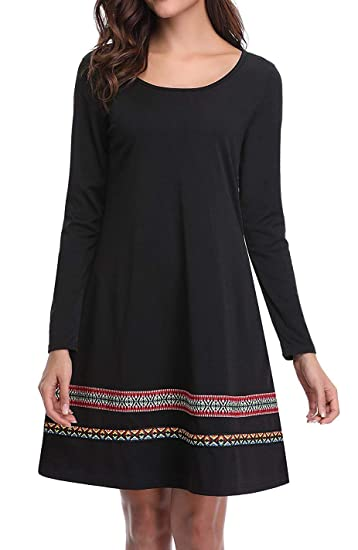 9e867276d08 CYFLYMDER Women s Long Sleeve Embroidered Casual Loose T Shirt Dress  (Black