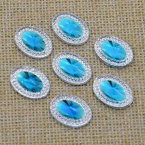 120pcs 13mmX18mm Crystal Oval Resin Rhinestones Flat Back Beads Gem Appliques/Craft/Wedding (Light Blue)]()