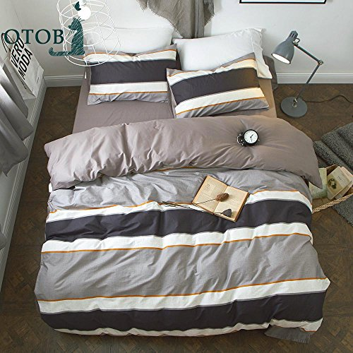ORoa Cotton Striped Boys Twin Duvet Cover Sets Multi Color 3 Piece Bedding Sets Twin for Teen Man Kids together with 2 Pillow Shams (Twin, design 1)