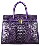 Pijushi Embossed Crocodile Purse Genuine Leather Satchel Handbags Office Padlock Bag 22130 Violet (0005 34CM)