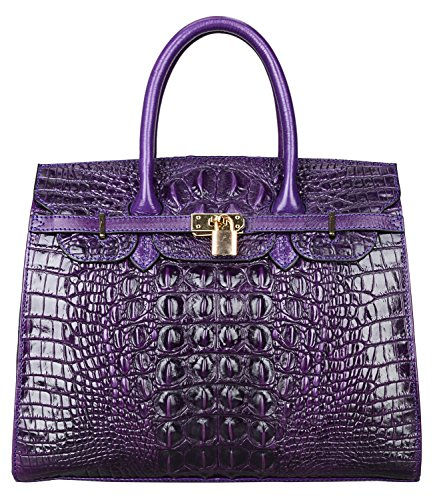 Crocodile Look Leather (Pijushi Embossed Crocodile Purse Genuine Leather Satchel Handbags Office Padlock Bag 22130 Violet (0005 34CM))