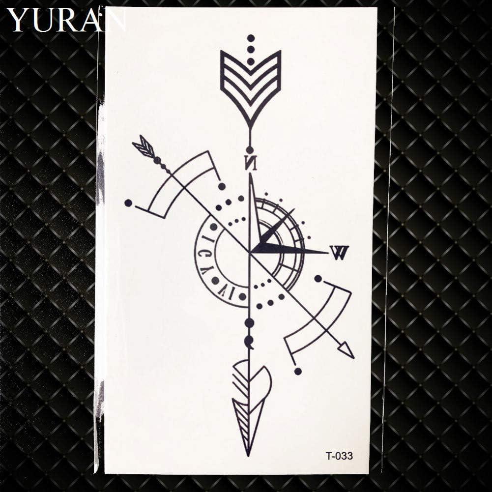 GHHCG Lovely Negro Brújula Flecha Tatuaje Temporal Ciruela Roja ...
