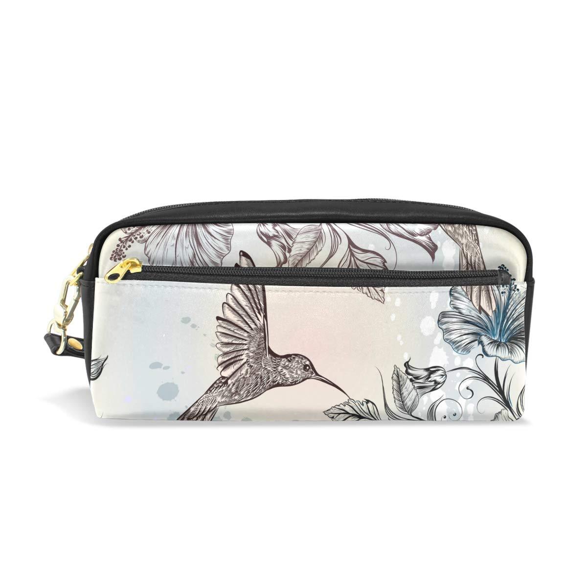 CPYang - Estuche de piel con cremallera para lápices, diseño de colibrí