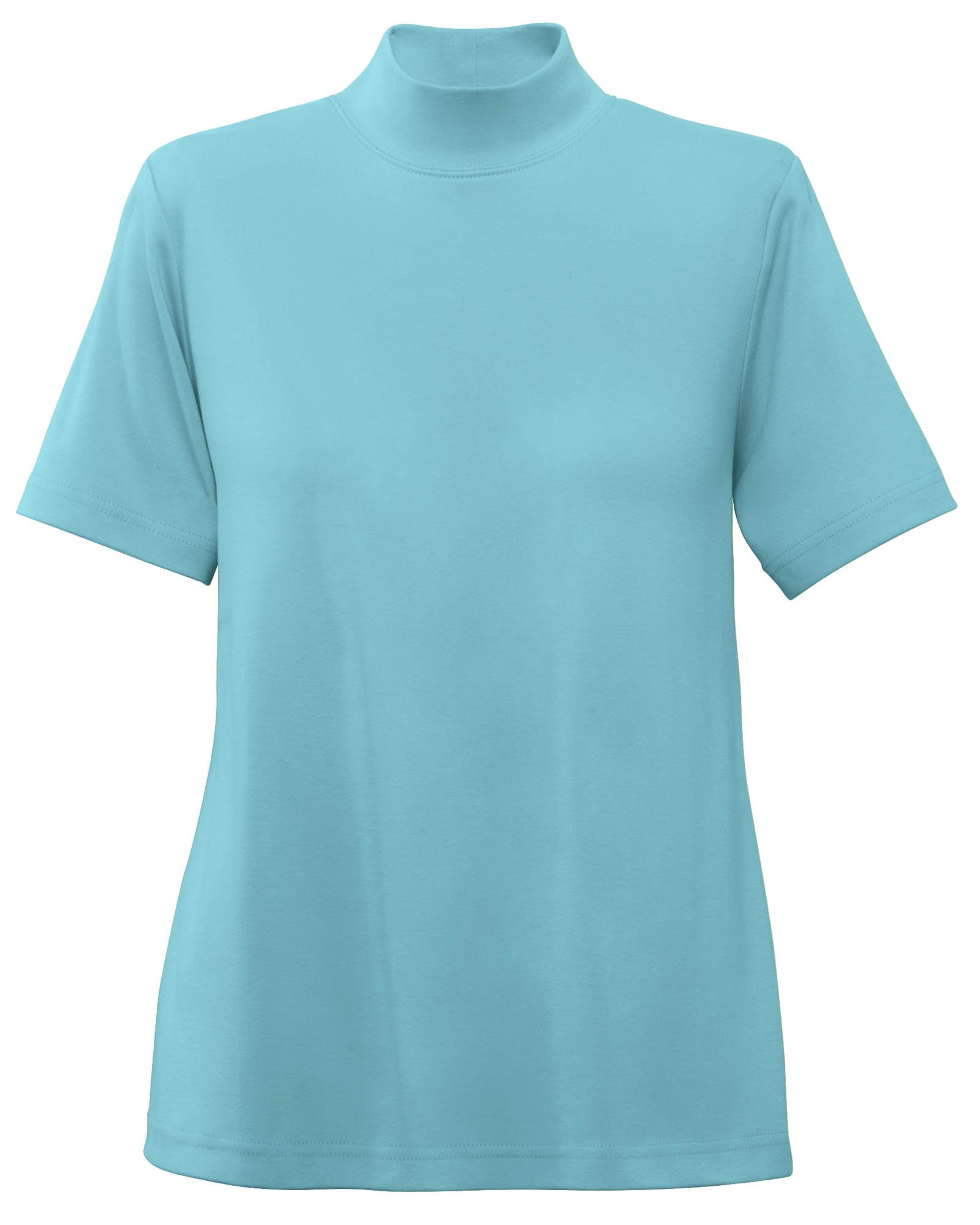 UltraSofts Cotton-Polyester Mock Top, Aqua, X-Large