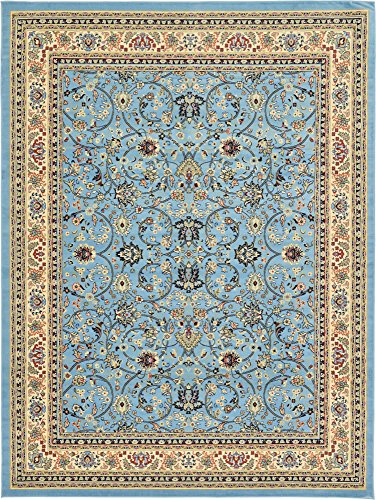Unique Loom Kashan Collection Traditional Floral Overall Pattern with Border Light Blue Area Rug (9' 10 x 13' 0)
