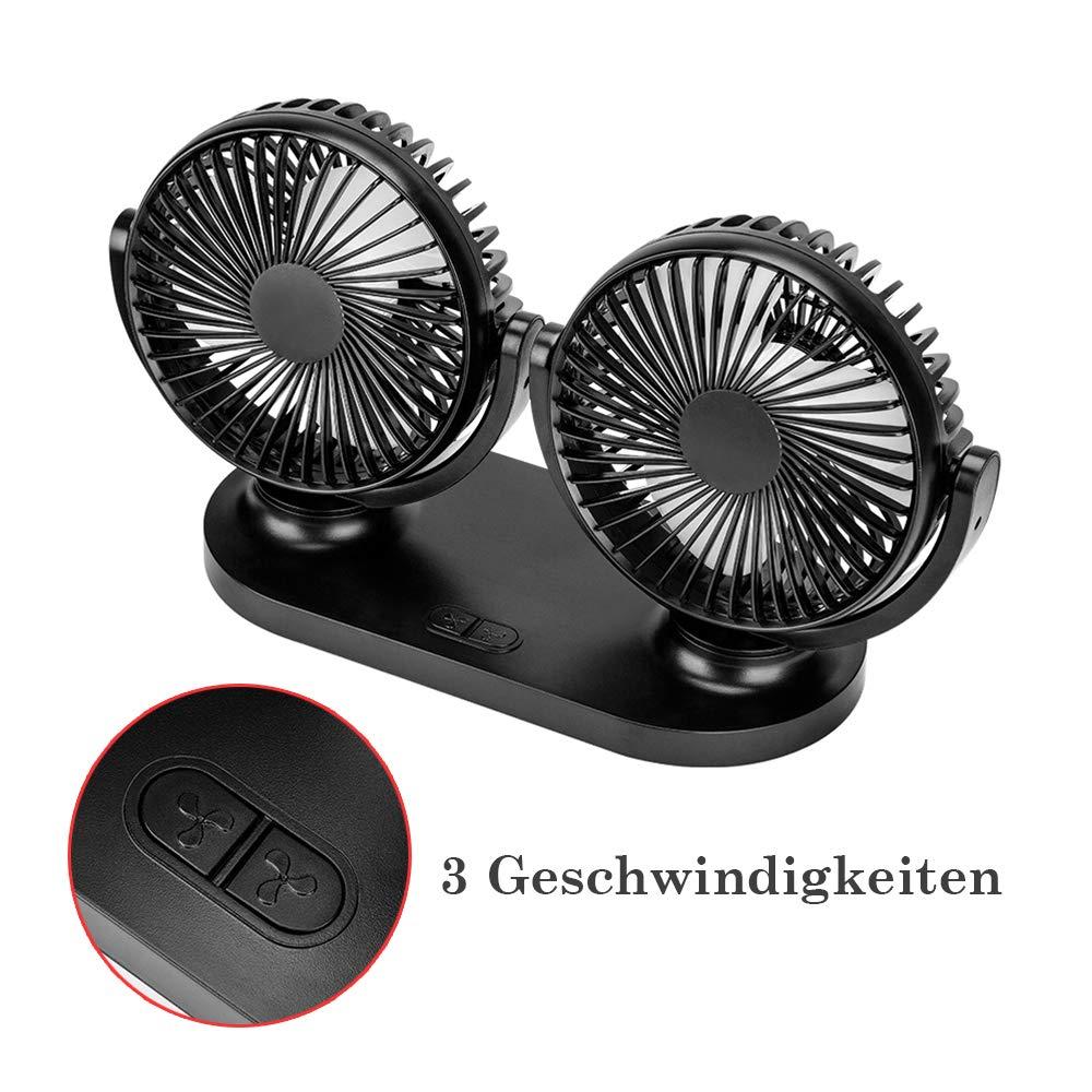 LKW 3 Geschwindigkeiten erstellbar f/ür Fahrzeug Auto Ventilator Doppeltk/öpfe Doppell/üfter L/üfter USB Tischventilator mit Auto Ladeger/ät R/ücksitz