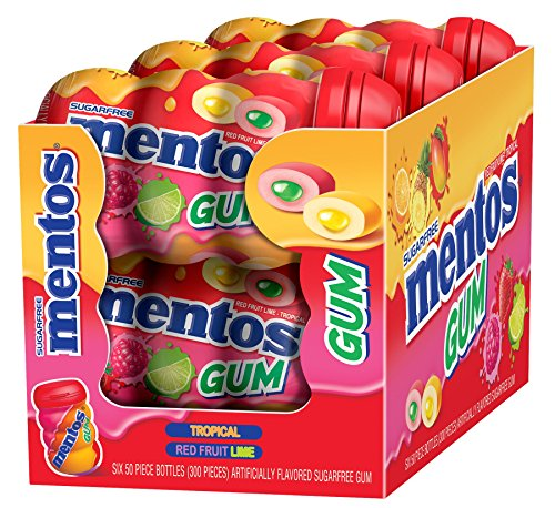 Mentos Sugar-Free Chewing Gum, Red Fruit Lime, 50 Piece Bottle (Pack of - Car Mentos