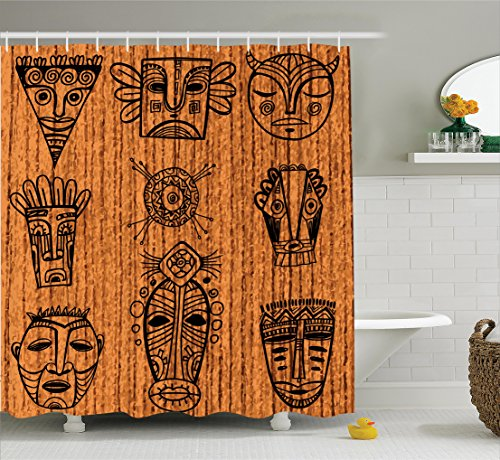 African Decorations Shower Curtain Set By Ambesonne, Ritual And Ceremonial African Tribal Cultural Masks Spiritual Religious Art Print, Bathroom Accessories, 69W X 70L Inches, Cinnamon and (Religious Accessories)