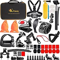Kitway Action Camera Accessories Kit for Akaso EK7000/Wewdigi EV5000/GoPro Hero 6 Hero 5 Black Session 4 3+ 3 2 1/DBpower N6/Crosstour and More