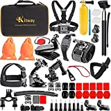 Kitway 65-in-1 Action Camera Accessories Kit for Akaso EK7000 Wewdigi EV5000 GoPro Hero 6 Hero 5 Black Session 4 3+ 3 2 1 DBpower N6 Crosstour and More (Accessories for Action camare)