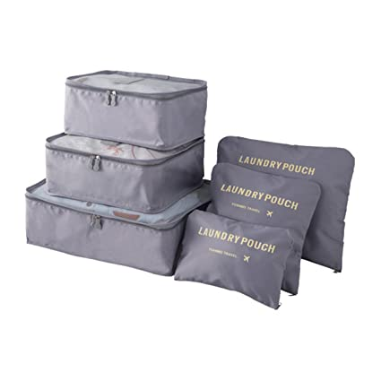 Organizador de Viaje Organizadores para Maletas, EASEHOME 3Pcs Cubos de Embalaje + 3pcs Bolsas de Almacenamiento para Ropa Zapato Cosmético ...