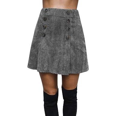 BAMD=NB Falda para Mujer, Minifalda de Piel de Ante Volante ...