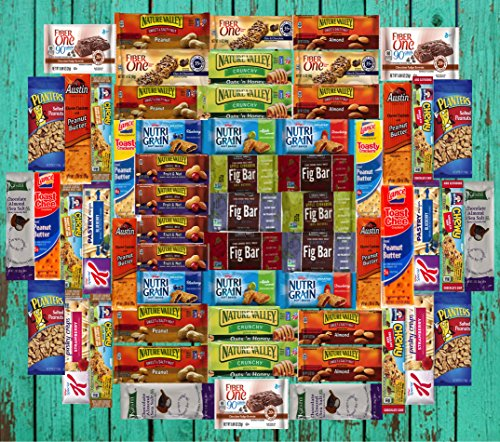 Ultimate Healthy Office Bars, Snacks & Nuts Bulk Variety Pack - Travel Snack Box - Military Care Package (60 Count) (Easter Basket Items)
