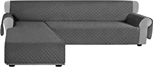 Granbest Sofa Covers for L Shape Sofa Reversible Sectional Couch Covers Chaise Lounge Sofa Sip Cover for Dogs Pets Non Slip Furniture Protector with Foams Sticks (X-Large, Gray)