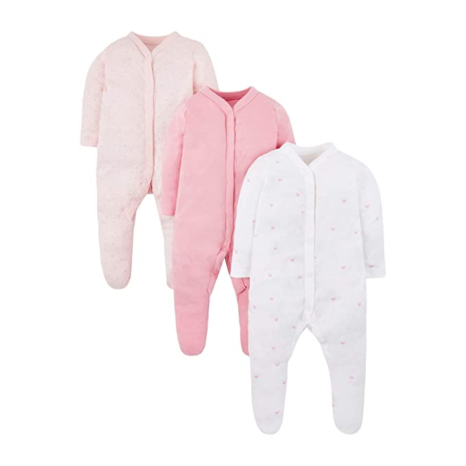 Mothercare Baby Girls  Pink 3 Pack Sleep New Design Sleepsuit   Amazon.co.uk  Clothing 3a67125b3