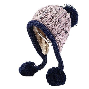 Stllshine Sombreros de Invierno para Mujer Linda Bola Grande Pom Pom  Sombrero para Mujer Tejer Gorros 32773bb90b0