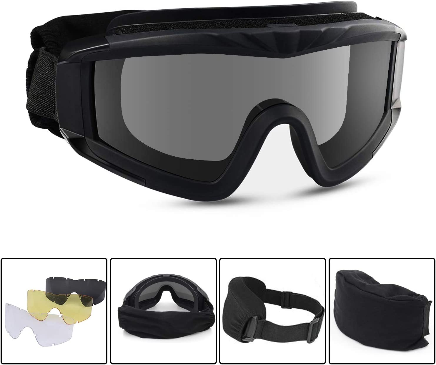 Freehawk Tactical Safety Goggles Airsoft Goggles Military Goggles Motorcycle Goggles with 3 Interchangeable Multi Lens for Shooting/Paintbal/Hiking/Skiing/Riding