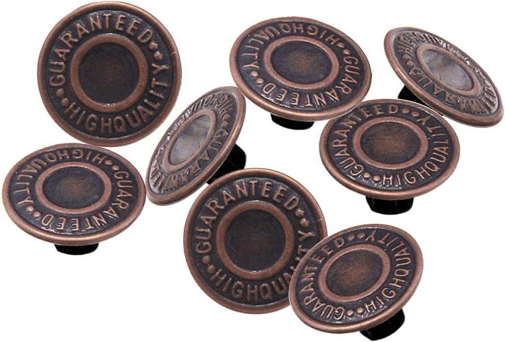 Bronze fonc/é 17mm Trimming Shop Bronze Fonc/é 17mm Laiton Jeans Bouton Tack Attaches avec Dos Broche pour V/êtements R/éparation,Demins,Vestes