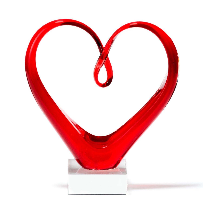 Amazon Leonardo 090871 Heart Skulptur Rot Farbglas Hhe 24 Cm