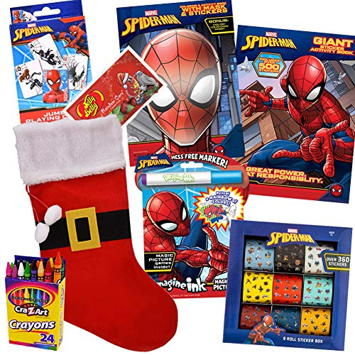 Spiderman Christmas Stocking Bundle by ColorBox Crate, 8 Pack Spider-Man with Spider Man Coloring Books, 900 Spiderman Stickers, Spiderman Mask, Christmas Candy for Children Ages 3-8
