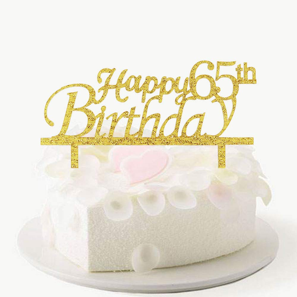 Happy 65th Birthday Cake Topper Gold Acrylic Party Decorations Amazon Grocery Gourmet Food