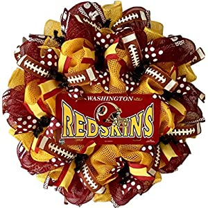 Washington RedSkins Football Sports Wreath Handmade Deco Mesh 9
