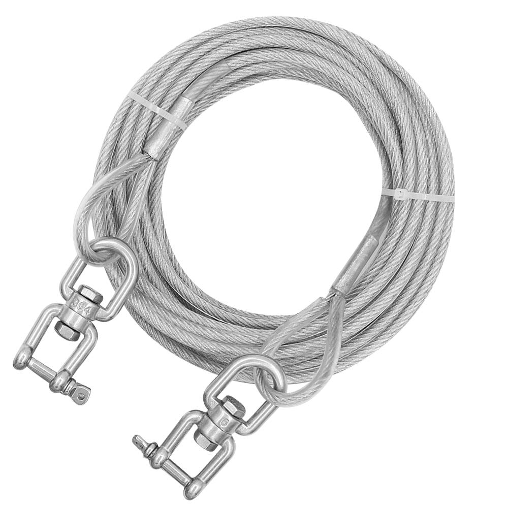 XiaZ 50 Feet Dog Runner Cable for Dogs,Outside Dog Chain with Double Ended Swivel Clasp, Dog Tie Out Trolley for Outside, Yard, Camping, Up to 350 Pounds by XiaZ