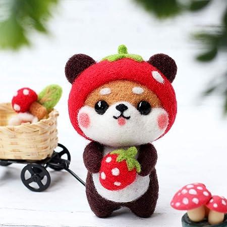 Exceart Needle Felting Starter Kits Animals Wool Felting Supplies Needle Felting Kit for Beginners Kids Adults Craft Cute Bear Akita