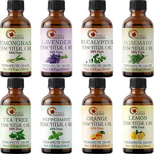 Essential Oils Set 100% Pure Therapeutic Grade - Aromatherapy Essential Lavender Tea Tree Eucalyptus Rosemary Lemongrass Peppermint Orange and Lemon Oils - Hair Skin Nails Natural Health and Beauty