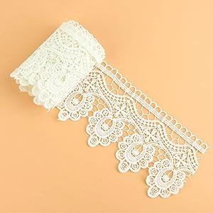 Yontree Floral Venise Lace Applique Sewing Trim Bridal Wedding Applique White 2 Yards