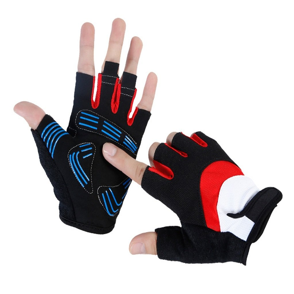 Pothholders mitters Summer Outdoor Bicycle Anti-Skid Men's Combat Semifinger Gloves, Red Daily Riders (Size : XL)
