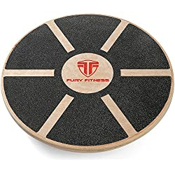 Fury Fitness Wobble Board - Our Best Wooden Balance Board That's Perfect for Standing Desk Use - Rehab Physical Therapy - Balance Trainer - Round & Made of Wood