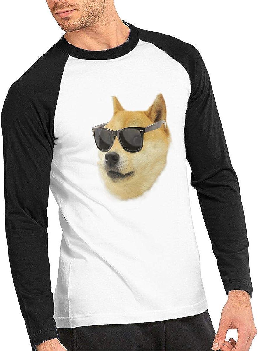 Camiseta clásica de Manga Larga para Hombre, Doge Face Mens Raglan tee Shirts Long-Sleeve Mens Raglan Tops: Amazon.es: Ropa y accesorios