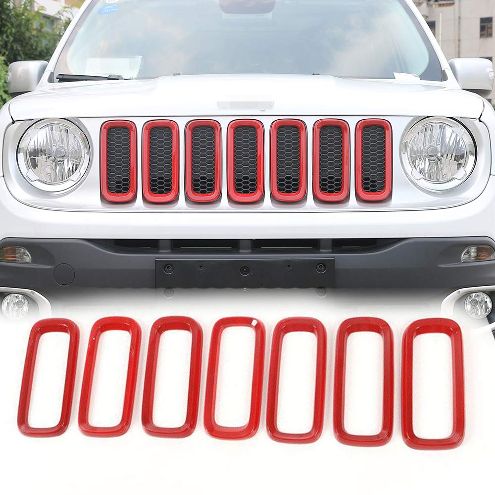 Pack of 7 JeCar Front Grill Grille Inserts 2016-2017 Jeep Renegade Unlimited ABS Red