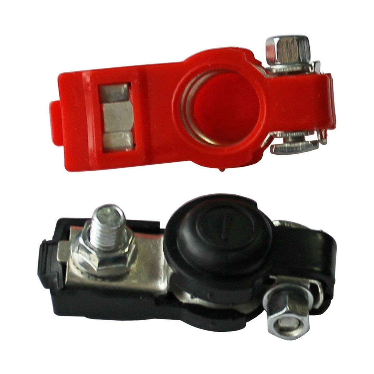 Rosso e Nero Dailyinshop Morsetti a sgancio rapido 2X Batteria Terminali a 6 Poli a 12 Poli morsettiera per Auto