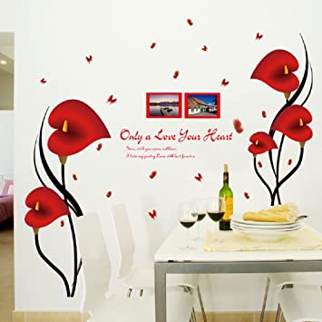 Amaonm fashion 3d vinyl red flower wall stickers decor nursery morning glory flowers wall art decals