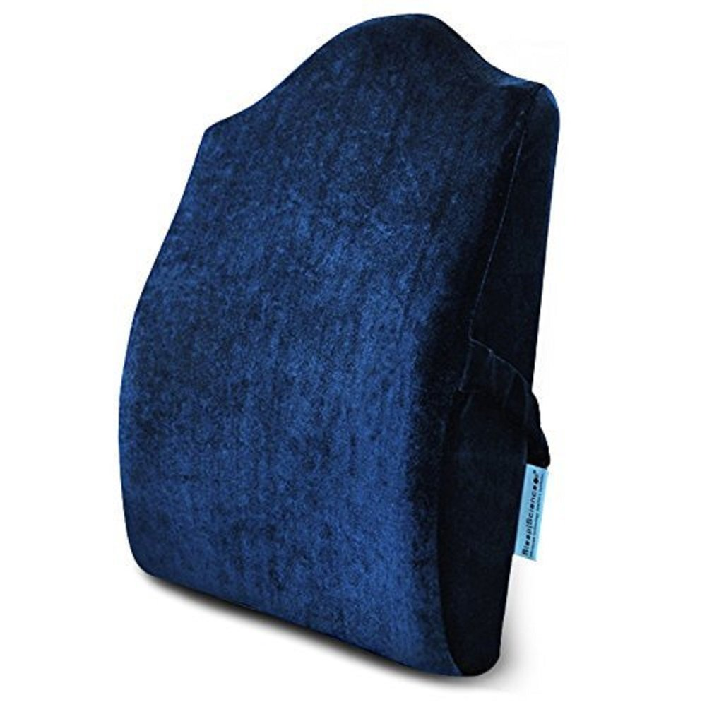 Sleep Science Patented Premium Ergonomic Memory Foam Lumbar Support Pain Relief Lumbar Cushion Back Cushion For Office Chairs and Cars Tall wonderful gift (Blue)