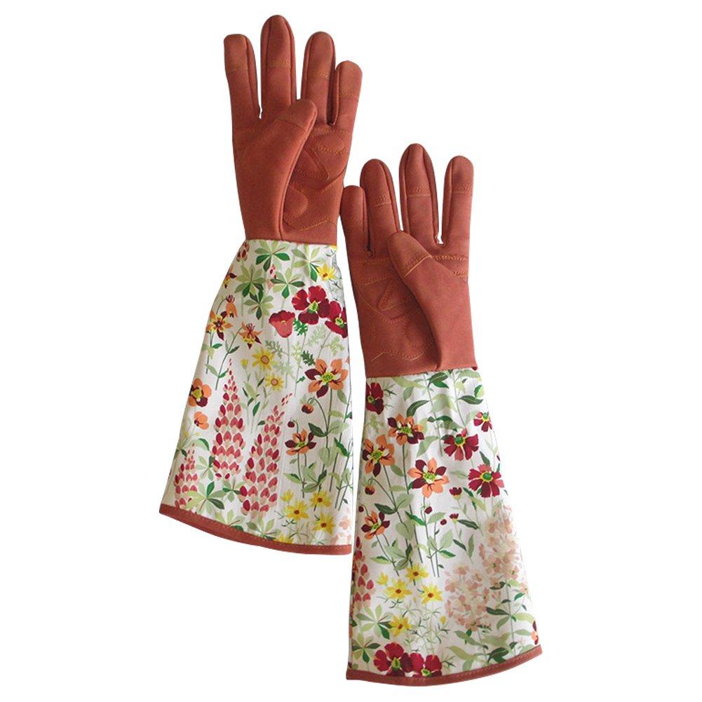 Leather Rose Pruning Gardening Gloves Puncture Resistant Yard Work Gloves Thorn Proof Garden Gloves for Blackberry Plants Rose Bush For Unisex Men & Women Gardener HCT01#A