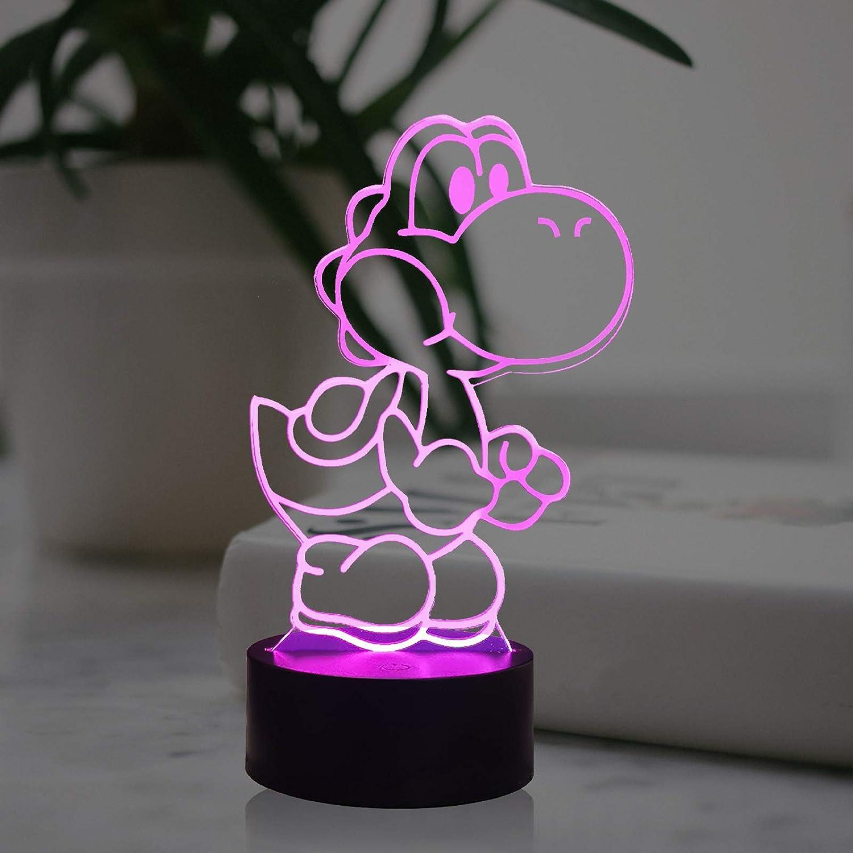 Dinosaur Lamp Mario Bros Cartoon Light Yoshi Toad Donkey Kong Bowser 3D LED Table Lamp Home Decor Night Light for Boy Room with 7 Color Smart Remote Change, Helpful Sleep Mood Lighting Kid (Yoshi)