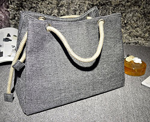 canvas super shoulder bag linen bag cotton Black Summer breathable 2018 beach straw large capacity 0PqX8f1