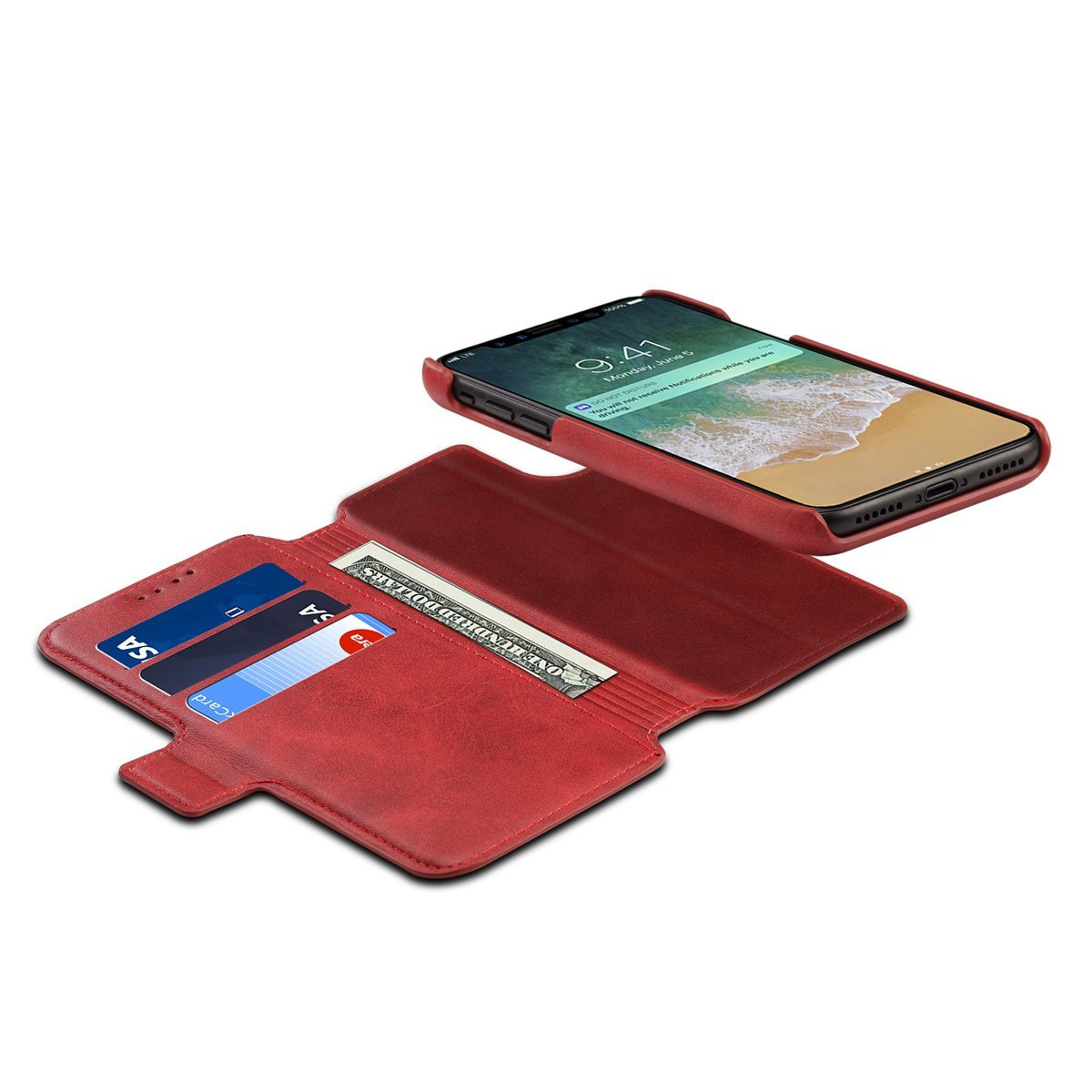 Scheam iPhone X Flip Cover, Case, Skins Card Slot [Stand Feature] Leather Wallet Case Vintage Book Style Magnetic Protective Cover Holder for iPhone X - Red by Scheam (Image #9)