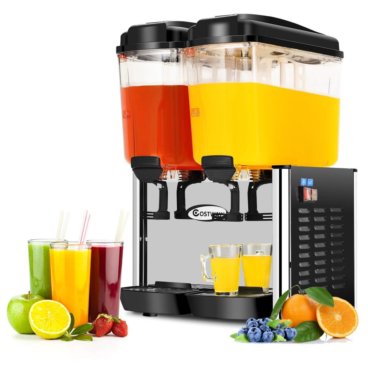 COSTWAY Commercial Beverage Dispenser Machine, 9.5 Gallon 2 Tank Juice Dispenser for Cold Drink, 350W Stainless Steel Finish Food Grade Material Ice Tea Drink Dispenser, 18 Liter Per Tank (Black)