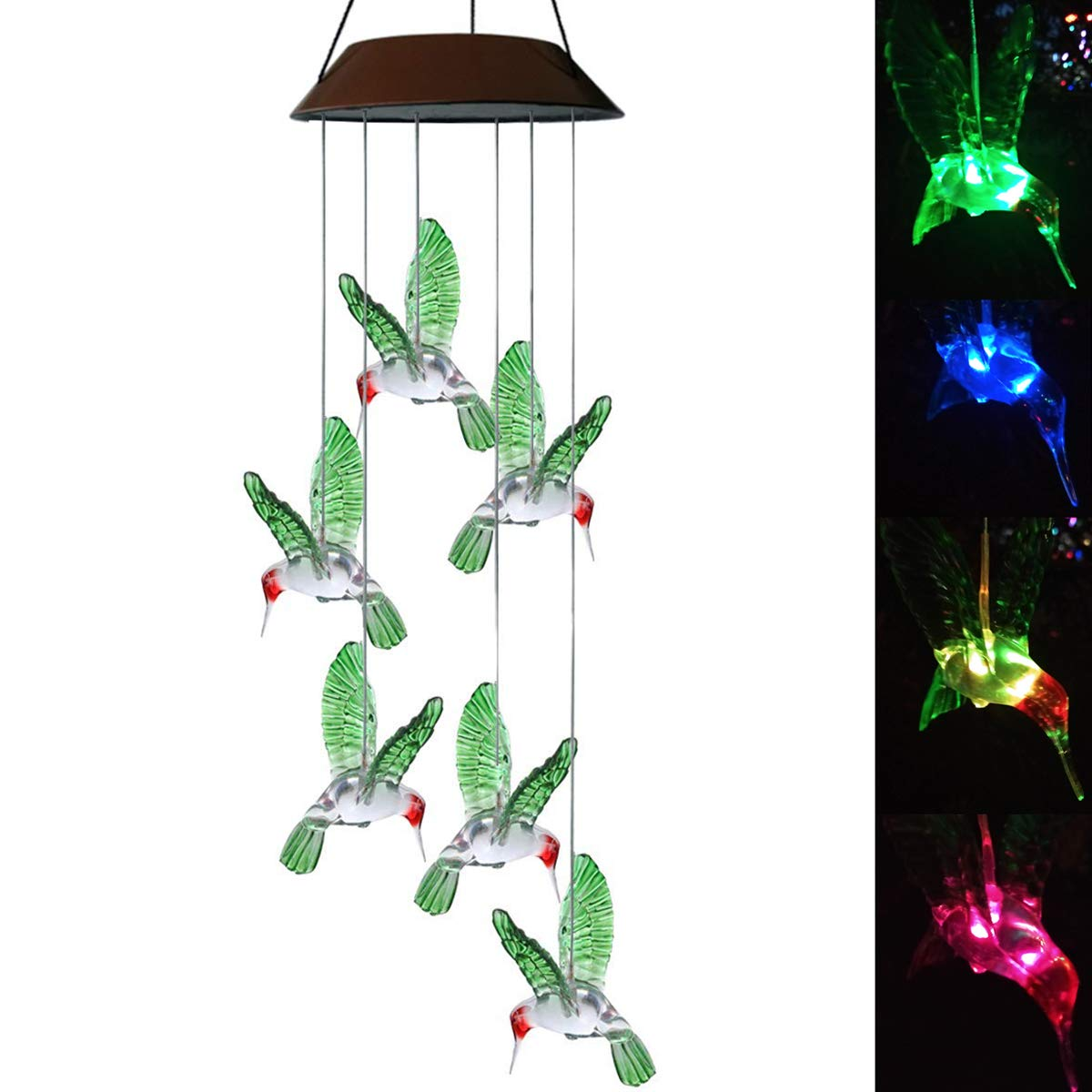 Color-Changing LED Solar Mobile Wind Chime LED Changing Light Color Waterproof Six Hummingbird Wind Chimes For Home Party Night Garden Decoration