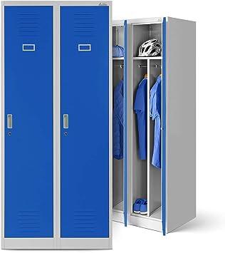 Taquilla de acero armario perchero taquilla Ropa taquilla doble taquilla 2 columnas puertas correderas separador revestimiento de polvo 180 cm x 80 cm x 50 cm (H x B x T) (gris/azul):