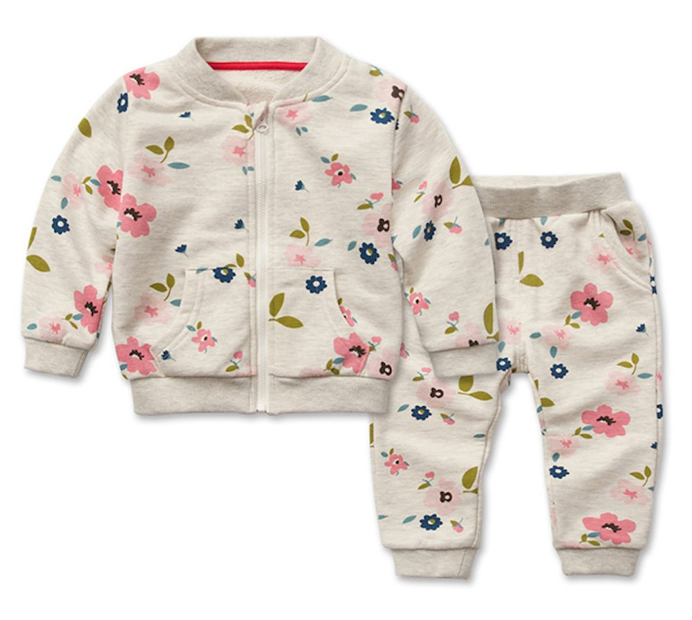 Freefly Toddler Girls Flower Sports Casual Top and Pants Outfit Clothing Set for Spring
