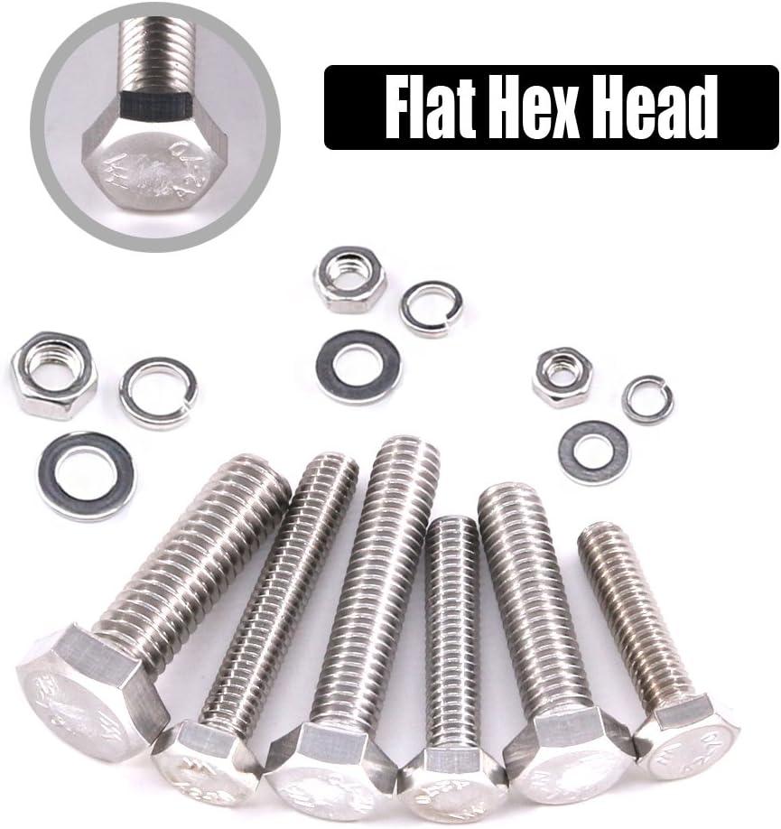 5//6 Stainless Steel Metric Hex Flat Head Bolts Screws Nuts Flat and Lock Washers Assortment Kit Hilitchi 510Pcs M4